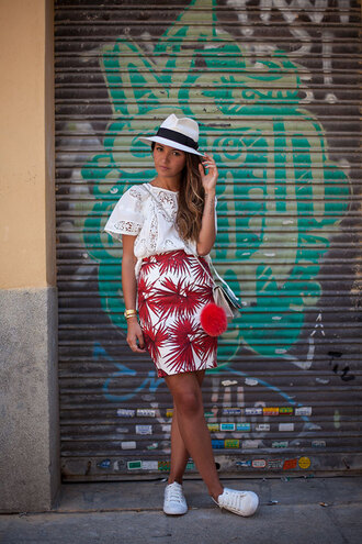 lovely pepa blogger top skirt bag hat shoes tropical lace top