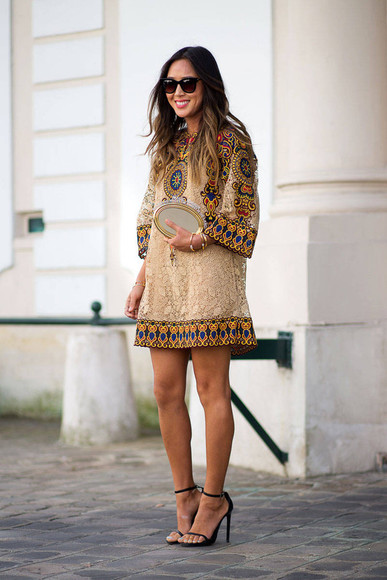 dress boho fashion week 2014 streetstyle shift dress