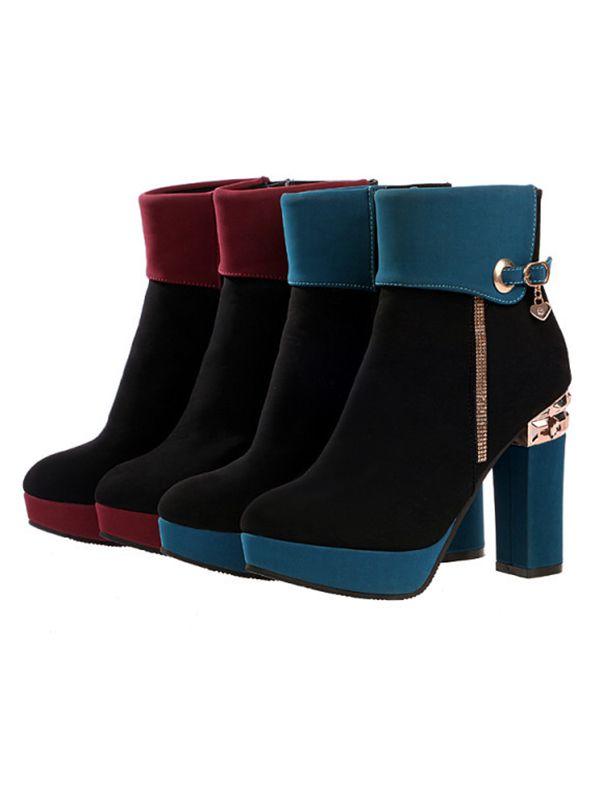 Fashion round toe suede buckle chunky heel boots pumps : kisschic.com