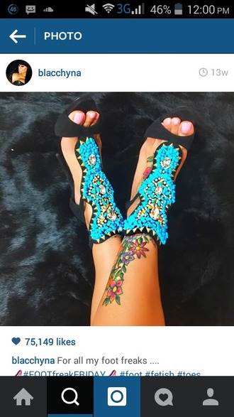shoes blue yellow black sandals open toes open toe sandals open toe heels cut out heels cut iut sandals ankle strap mosaic mosaic design blac chyna