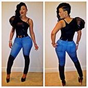 pants,keyshia kaoir,tank top,jeans