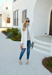 fash boulevard,blogger,coat,striped sweater,striped turtleneck,turtleneck,stripes,striped top,white coat,denim,jeans,blue jeans,skinny jeans,striped turtleneck sweater