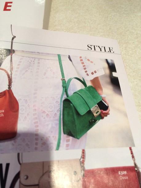 bag green suede satchel