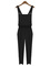 Black plain cross straps backless casual overalls