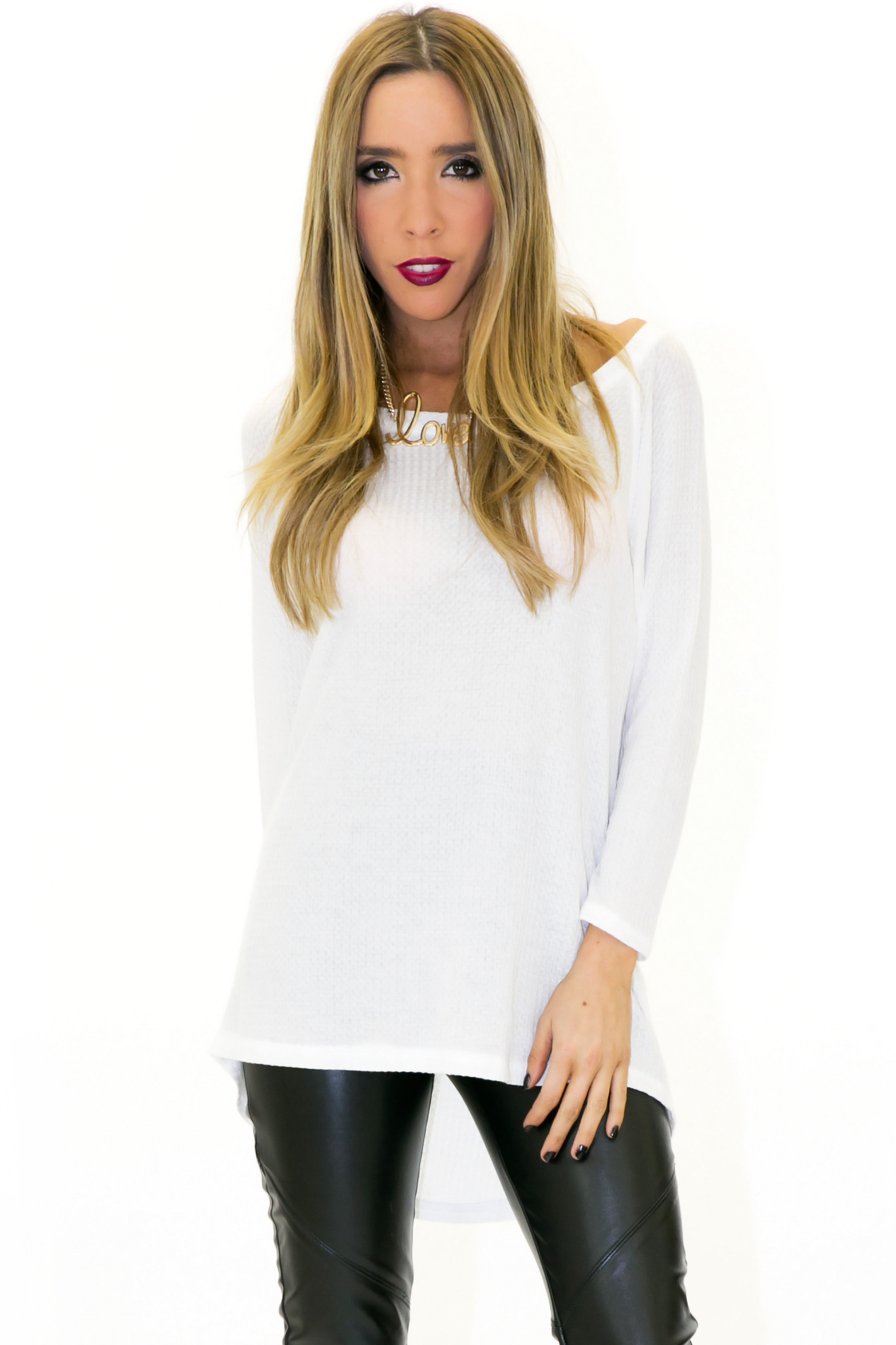 THERMAL KNIT LONG SLEEVE TOP - White | Haute & Rebellious
