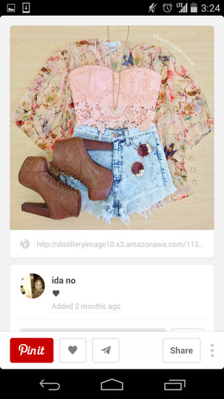 denim shorts High waisted shorts light wash