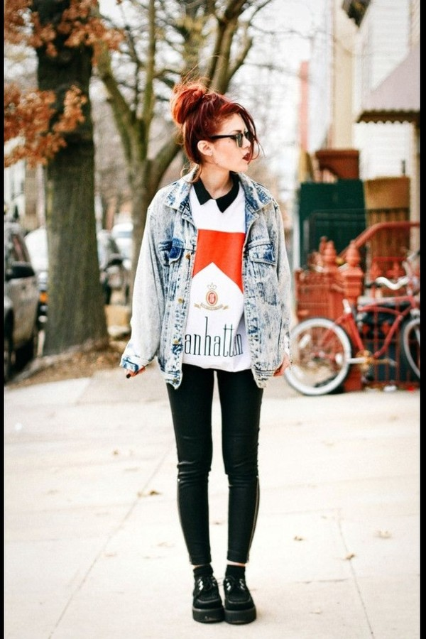 jacket denim jacket sweater leggings acid wash grunge shirt white manhattan marlboro