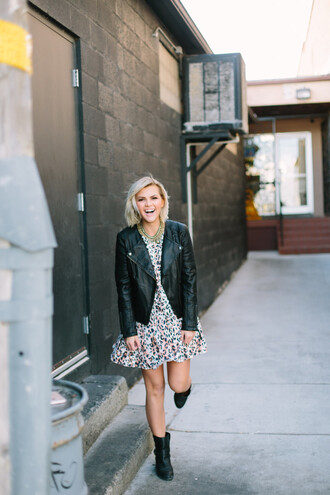 wild one forever - fashion & style by kristin blogger dress jacket shoes jewels mini dress black leather jacket ankle boots boots