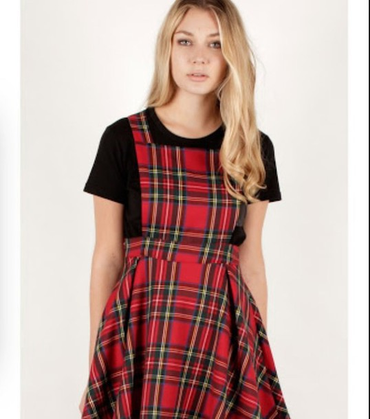 dress tartan dress pinafore dress red dress