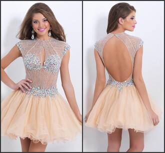 homecoming dress a-line crystal beaded dress dress to party