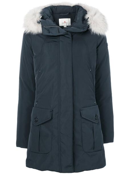 coat fur fox women blue