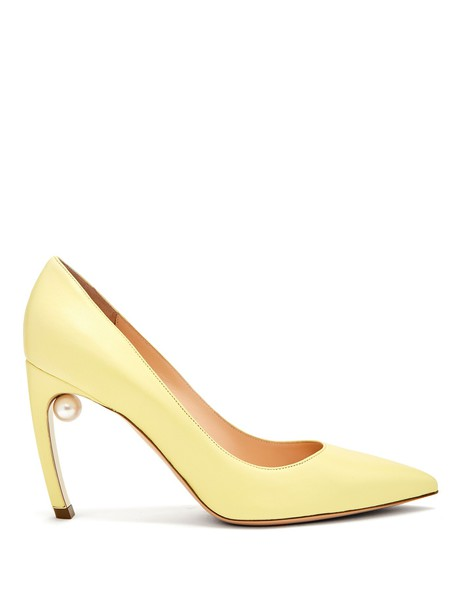 Nicholas Kirkwood pearl pumps leather yellow shoes