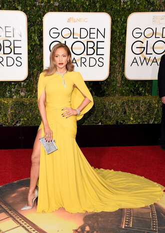 dress yellow dress prom dress gown jennifer lopez golden globes 2016 red carpet dress red carpet slit dress long dress long prom dress clutch bag pumps