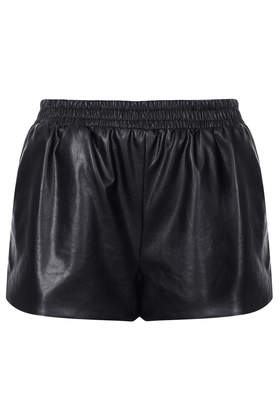 Black Faux Leather Shorts - Topshop
