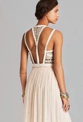 dress,pink,back,cream,free people,golden chalice,gold