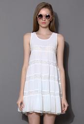dress,white,dolly,lace,trapeze,slip dress