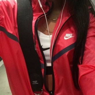 jacket red coat nike red nike zip red jacket check mark white