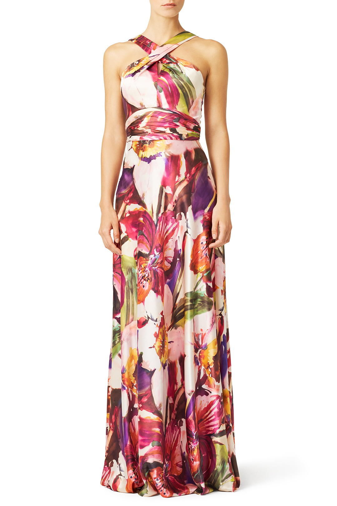 Theia Hibiscus Floral Gown