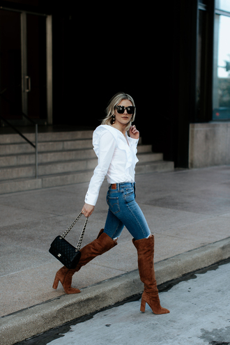 sosageblog blogger shoes top jeans jewels sunglasses bag boots over the knee boots chanel bag chanel blouse