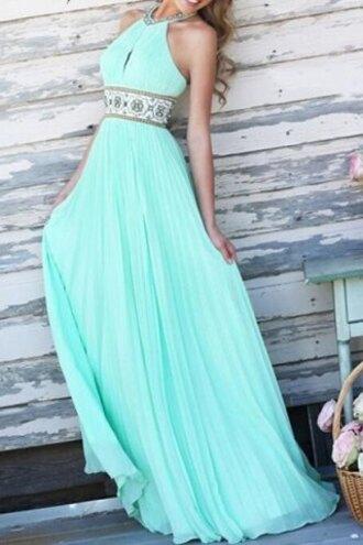 dress aqua girly long pretty
