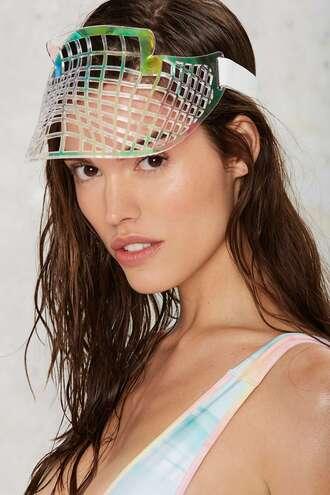 hat holographic laser cut visor