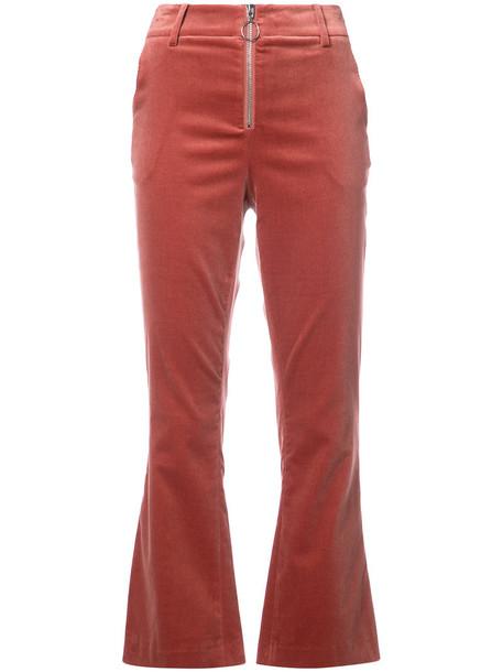 Frame Denim cropped women spandex cotton velvet red pants