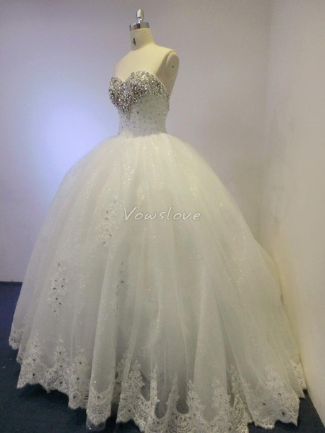 2a02723f74b dress princess wedding dress ball gown dress white ball gown beaded ballgown  prom dress vowslove quinceanera