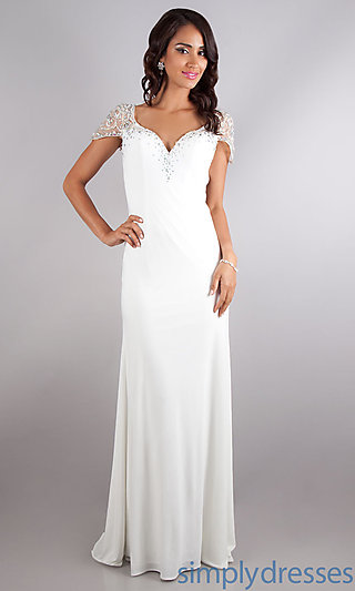 Dress, Floor Length Ivory Formal Dress - Simply Dresses