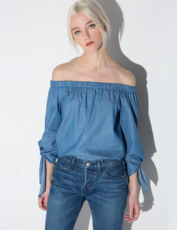 top chambray sleeve tie off the shoulder top pixiemarket sleeve tie top off the shoulder chambray off the shoulder top