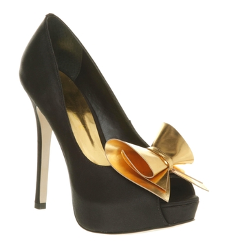 shoes heels heels with bows high heels black heels black high heels bows bow gold