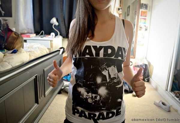 shirt band merch mayday parade grey tank top