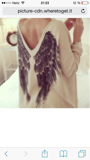 sweater beige cream/beige angel wings sweatshirt shirt wings style wings on the back fly clothes t-shirt blouse
