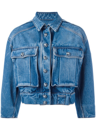 jacket denim jacket denim cropped women cotton blue