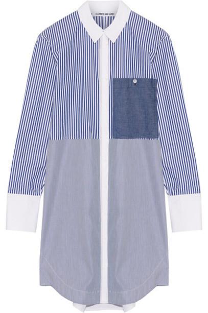 1ccf356217de49 Elizabeth and James - Jay Striped Cotton-poplin Mini Shirt Dress - Blue