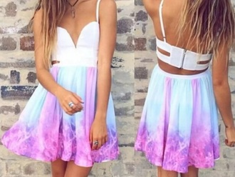 dress white galaxy print blue purple