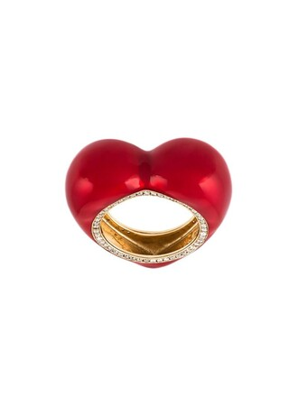 diamond ring heart ring red jewels