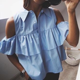 blouse blue fashion vibe classy love amazing style