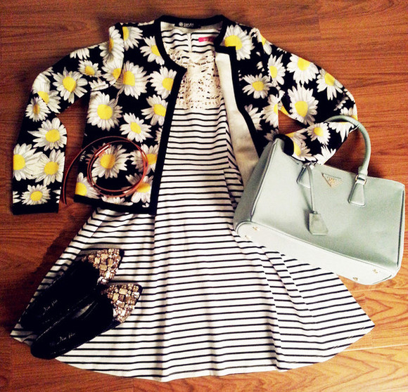 shoes flats bag cardigan outfit sweater oasap oasap_fashion dress clothes fall outfits winter outfits fashion daisy jacket outwear sunflower stripes striped dress skirt clutch handbag