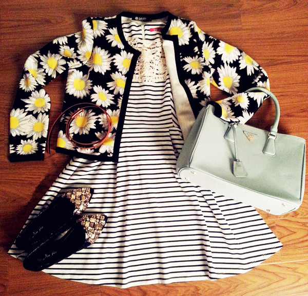 cardigan daisy jacket sweater outerwear oasap oasap_fashion sunflower dress stripes striped dress skirt bag shoes flats outfit fashion fall outfits winter outfits clothes clutch handbag