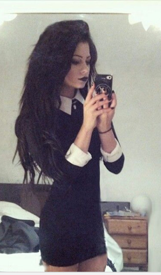 belt alternative dress goth dress goth grunge rock punk black dress black and white collared dress addams family black collardress wednesday addams wednesday addams dress black bodycon dress peterpan collar collar