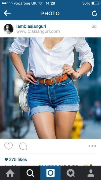 shorts denim shorts denim blue belt roll-up