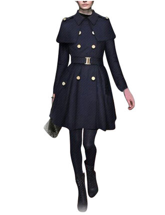 coat trench coat blue coat pea coat navy classy