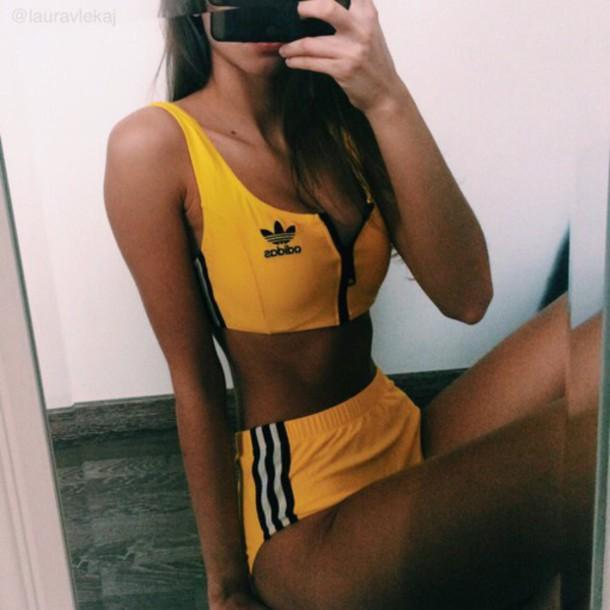 Underwear: adidas, adidas wings, yellow, style, crop tops ...