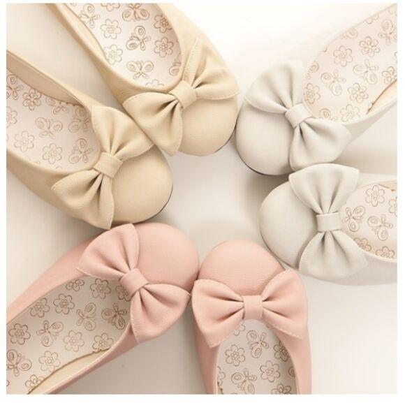 shoes ballet flats bows pastel flat kawaii cute