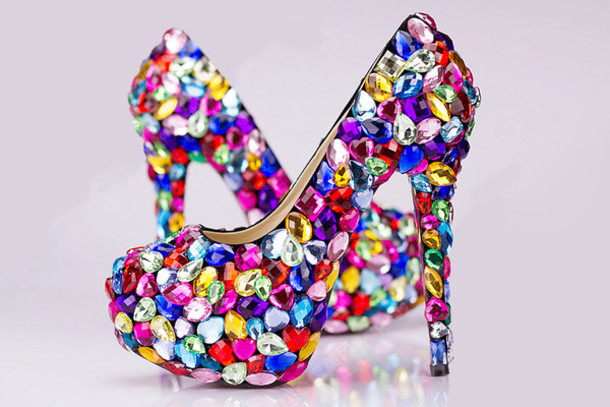 Pumps Platform Round Fashion Women Chunky High Heels Shoes With Crystal 1562, fashion shoes