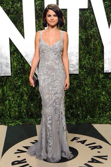 selena gomez dress prom dress gown grey gown long prom dresses