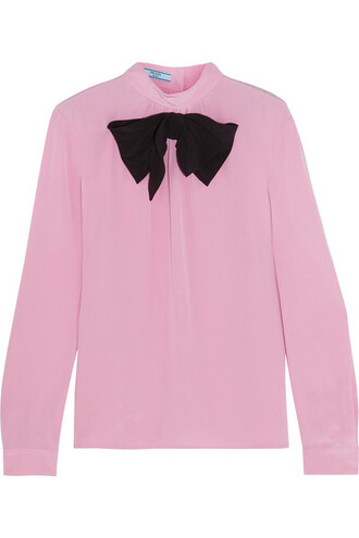 blouse bow baby embellished silk pink baby pink top