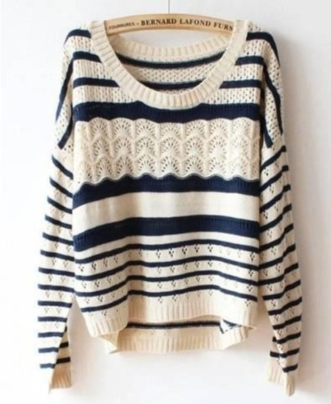 sweater blue and white striped blue white striped oversized sweater stripes tribal knit sweater knitwear junper clothes blue and white shirt pull cute love long sleeve sailor