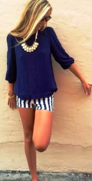 blouse blue blouse shorts