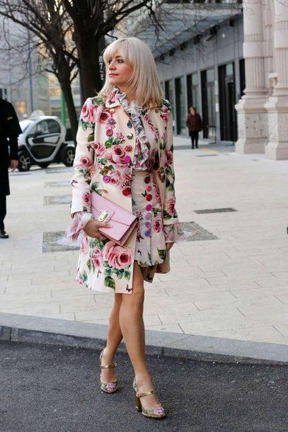 skirt floral blouse top streetstyle fashion week 2018 milan fashion week 2018 flowy spring outfits pixie lott coat